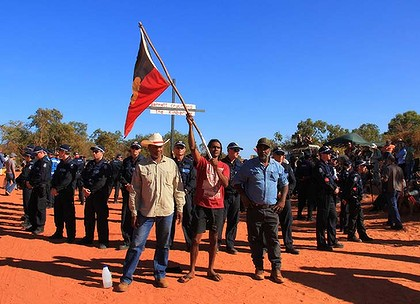 Aboriginal Traditional Owners at James Price Point in the Kimberley while protesting the development of a gas hub on their land.