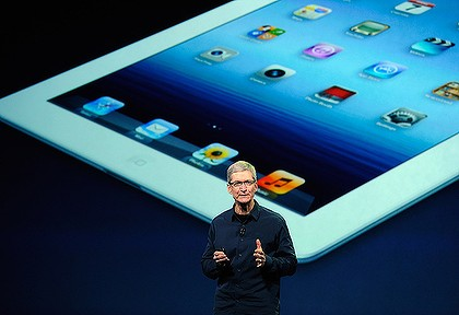 Apple CEO Tim Cook reveals details of the latest model iPad.