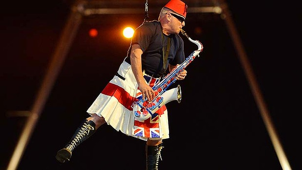 Lee Thompson of Madness performs during the closing ceremony at the London Olympic Games.