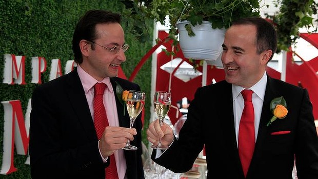 Cheers ... Philippe Guettat, right, chief executive of Martell Mumm Perrier Jouet, and Julien Hemard at the Melbourne Cup.
