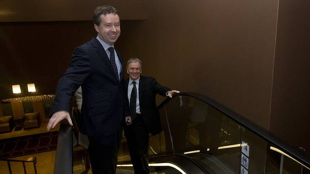 Happier times: Alan Joyce with former Qantas boss Geoff Dixon in 2008.