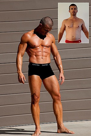 Before and after: Tony Cordin used both diet and exercise to build up to a bodybuilding competition.