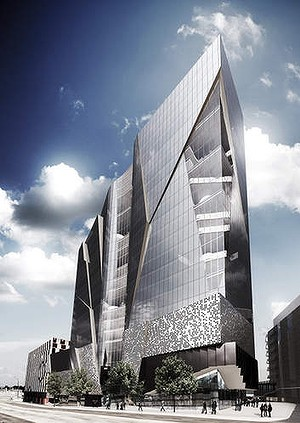 An artist's impression of the building planned for 1000 La Trobe Streetn at Digital Harbour.