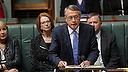 Treasurer Wayne Swan delivers his Budget address in the House of Representatives, at Parliament House in Canberra on Tuesday 14 May 2013. Photo: Alex Ellinghausen